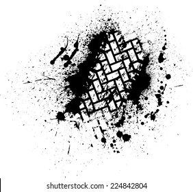 White tire track on black ink blots. eps10