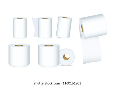 White Tissue Paper vector set in difference composition. Ideal for mock up packaging.