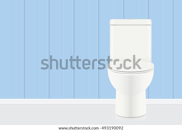 White toilet bow in blue bathroom. Illustration about sanitary ware.