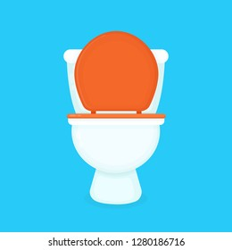 White toilet bowl. Vector flat cartoon illustration icon design. Isolated on blue background. Toilet bowl concept