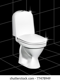 White toilet on a black tile with a gleam