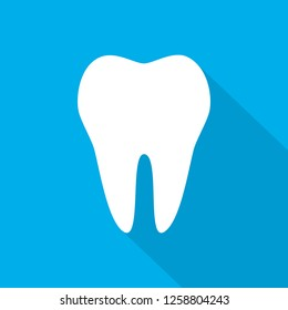 White Tooth icon in flat design. Vector illustration. Tooth icon with long shadow on blue background.