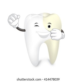 White tooth.   Isolated on white background. Whitening concept