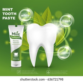 White tooth with a tube of mint toothpaste advertising template. Vector illustration
