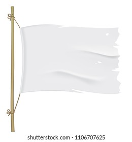 White torn flag hanging on a wooden pole. Waving fabric flag, isolated on background. Tattered vector flag design close up.