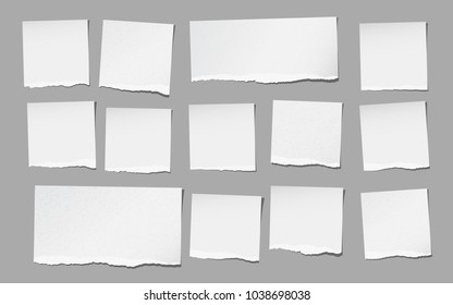 White torn note, notebook paper pieces for text stuck on gray background. Vector illustration.