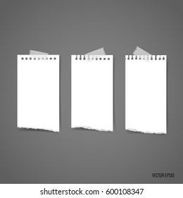 White torn note papers. Vector illustration.