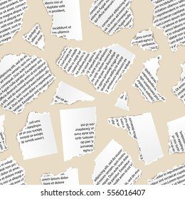 White torn paper pieces of text document on beige background, seamless pattern