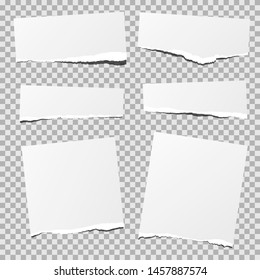 White torn paper set, isolated.
