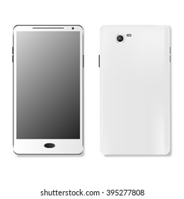 White touchscreen cellphone tablet smartphone isolated on white background. vector illustration