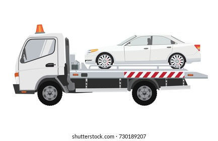White tow truck with white sedan car on it. Flat vector with solid color design.