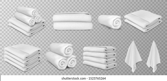 white towels set vector illustration