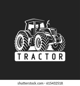 white tractor on black background vector illustration