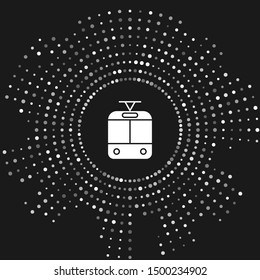 White Tram and railway icon isolated on grey background. Public transportation symbol. Abstract circle random dots. Vector Illustration