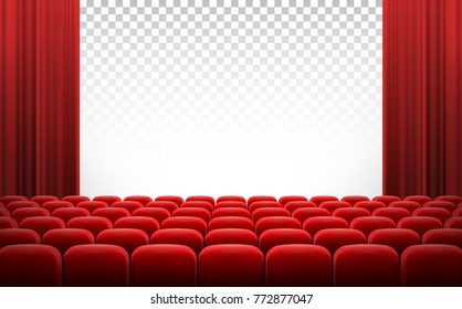 White transparent cinema movie theatre screen with red curtains and rows of chairs, realistic vector illustration, background. Concept movie premiere, poster with interior of cinema and space for text