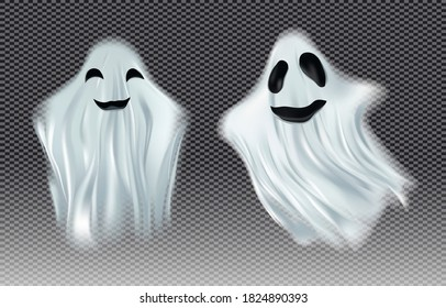 White transparent ghost vector illustration. Ghosts isolated on dark background. The concept of halloween, monster, spirit. Creatures from another world, the afterlife. Vector illustration