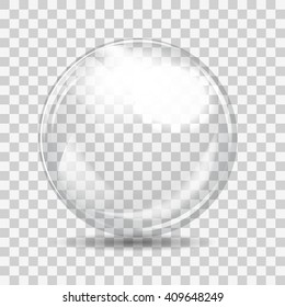 White transparent glass sphere with glares and shadow. Vector illustration.