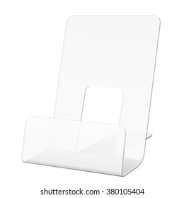 White Transparent POS POI Cardboard Blank Empty Show Box Holder For Advertising Fliers, Leaflets Or Products On White Background Isolated. Ready For Your Design. Product Packing. Vector EPS10