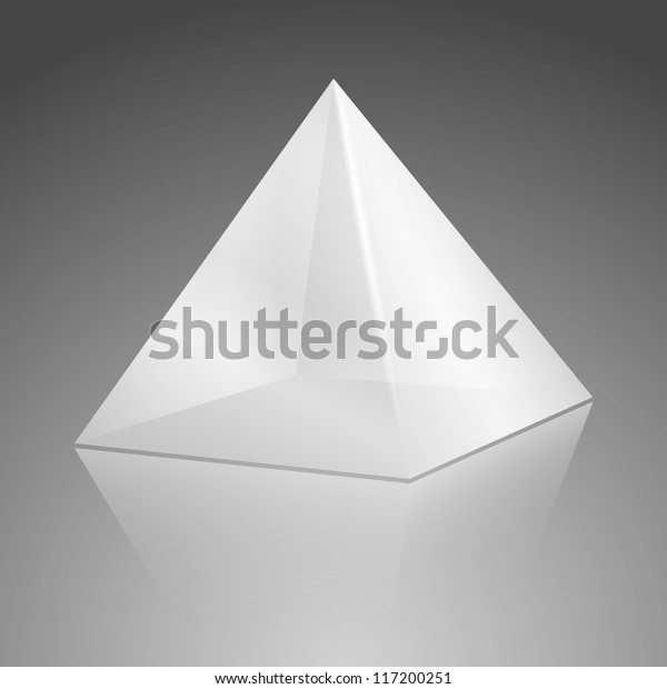 White transparent pyramid package on gray background
