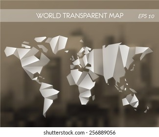 white transparent world map. world map concept.