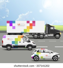 White transport advertising design with color square pattern. Templates of the truck, bus and passenger car. Corporate identity