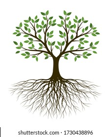 White Tree of Life on green background. Silhouette shape with Leaves and Roots. Vector outline Illustration. Plant in Garden. Royalty free vector object.