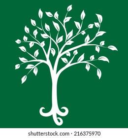 White tree on green