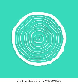 white tree rings with shadow. concept of saw cut tree trunk, figure from paper, forestry and sawmill. isolated on green background. logo design trendy modern vector illustration