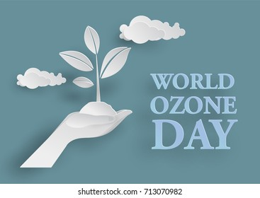 White tree in two hand in Paper Cutting Style  for World Ozone Day Concept