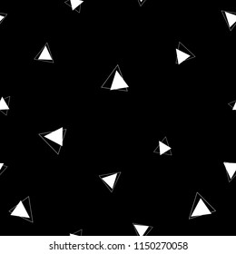 White triangles on a black background. Vector seamless pattern