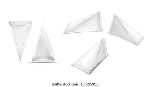 White triangular cardboard package for beverage, juice and milk.