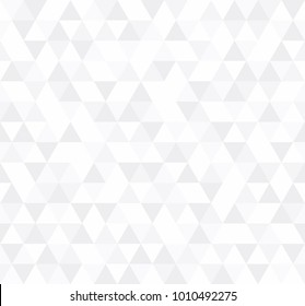 White Triangular Mosaic Abstract Seamless Pattern. Vector low poly style illustration.