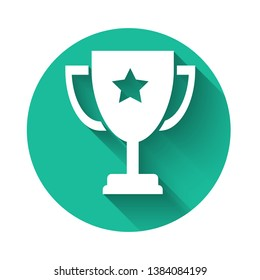 White Trophy cup icon isolated with long shadow. Award symbol. Champion cup icon. Green circle button. Vector Illustration