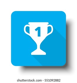 White Trophy Icon On Blue Web Button