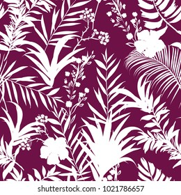 White tropical leaves Vector seamless pattern Exotic monotone forest leaves on dark purple