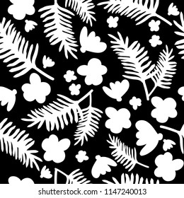 White tropical pattern on black background.For fashion prints.Simple seamless patern.