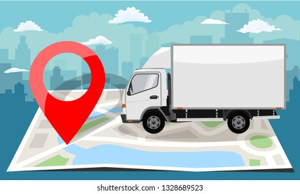 White truck over folded flat map and red pin. Cityscape background. Vector illustration.