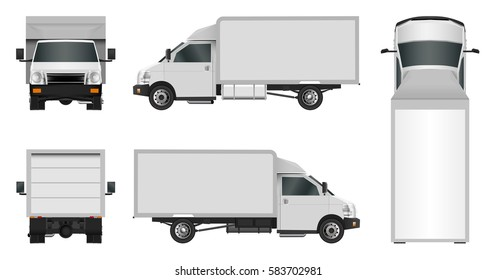 White truck template. Cargo van Vector illustration EPS 10 isolated on white background. City commercial vehicle delivery