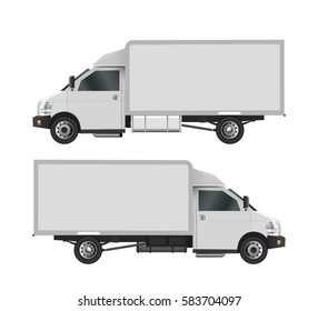 White truck template. Cargo van Vector illustration eps 10 isolated on white background. City commercial car delivery service