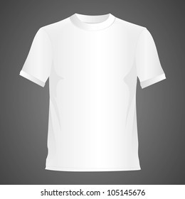 White T-shirt, isolated on black background, vector illustration