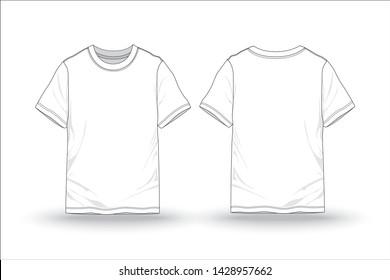 White T-shirt pattern mock up ,blank template for garment - vector