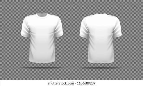 White T-shirt template vector, front and back view.