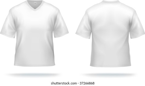 White T-shirt with triangle collar. Can be used as design template. Contains lot of details, gradient mesh & clipping masks used.