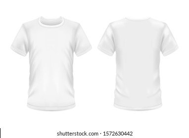 White t-shirt, vector 3d blank realistic model mockup. Man and woman sportswear or casual t shirt with round neck and short sleeves, front and rear view for branding template