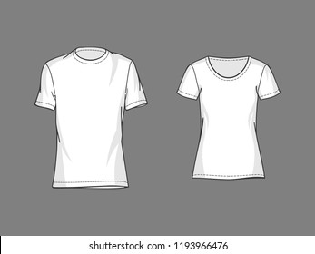 White t-shirt vector mockup.