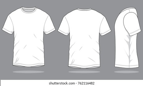 White T-Shirt Vector for Template. Front, Back and Side Views.