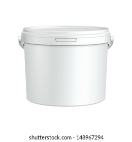 White Tub Paint Plastic Bucket Container. Plaster, Putty, Toner. Ready For Your Design. Product Packing Vector EPS10