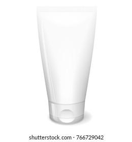 White tube cream, cosmetics mockup design, vector concept, 3d