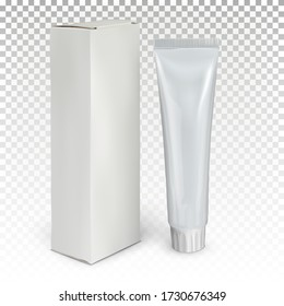 White tube with toothpaste and packing box stands on the surface. 3d vector realistic mock up isolated on transparent background.