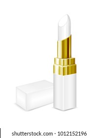 White tubes with white lipstick. Vector mock up.